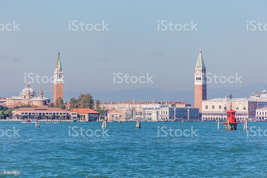 Venice in Italy with alps in the back stock photo