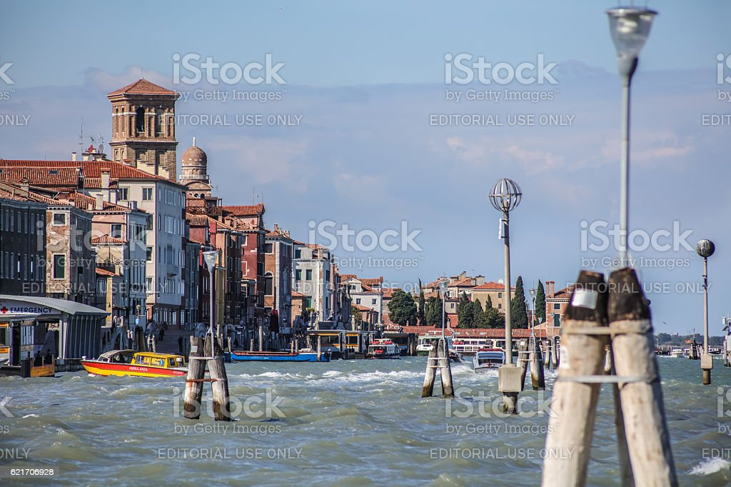 Venice in Italy with water taxis in Mediterranean sea stock photo