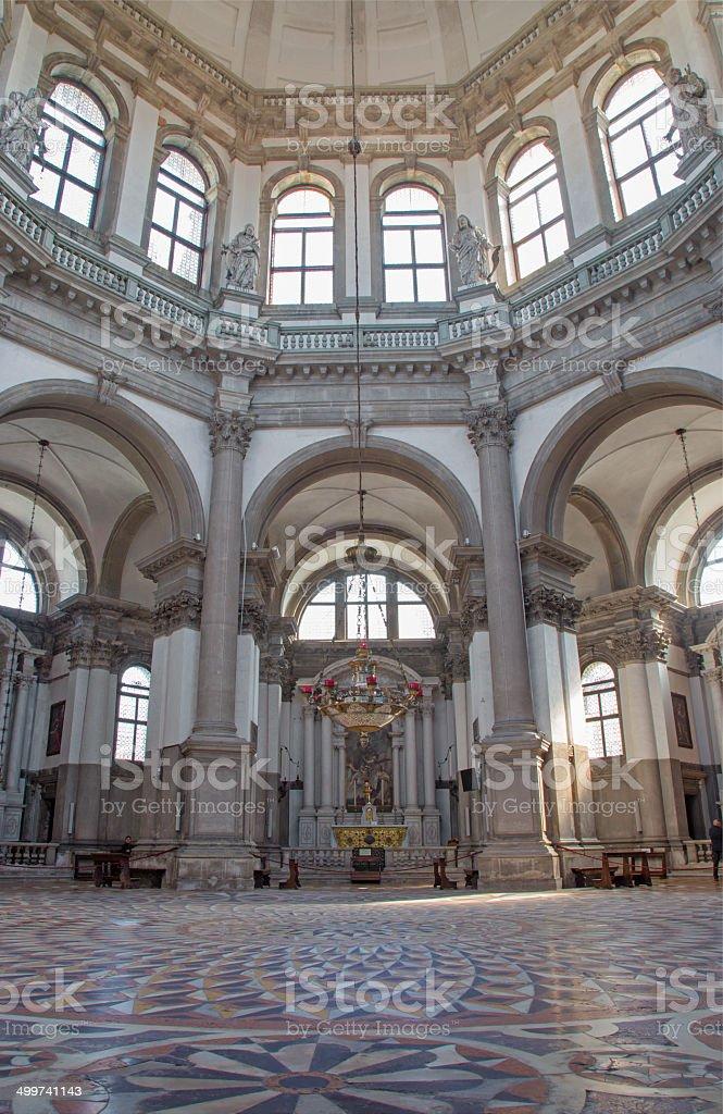 Venice -  Indoor of church Santa Maria della Salute. stock photo