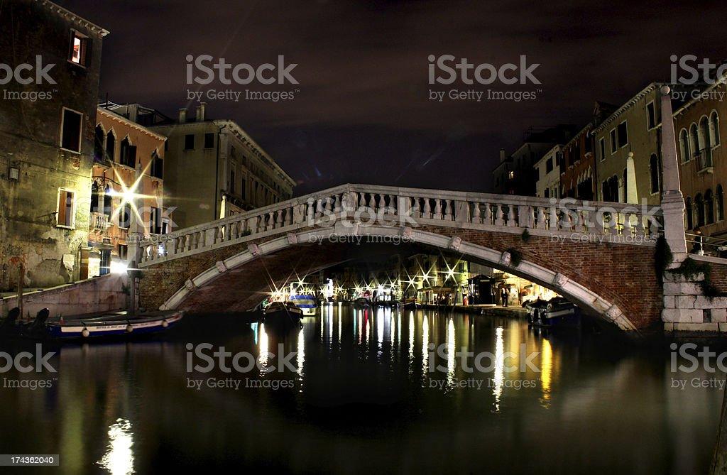 Venice Italy bridge Ponte Delle Guglie at Night stock photo