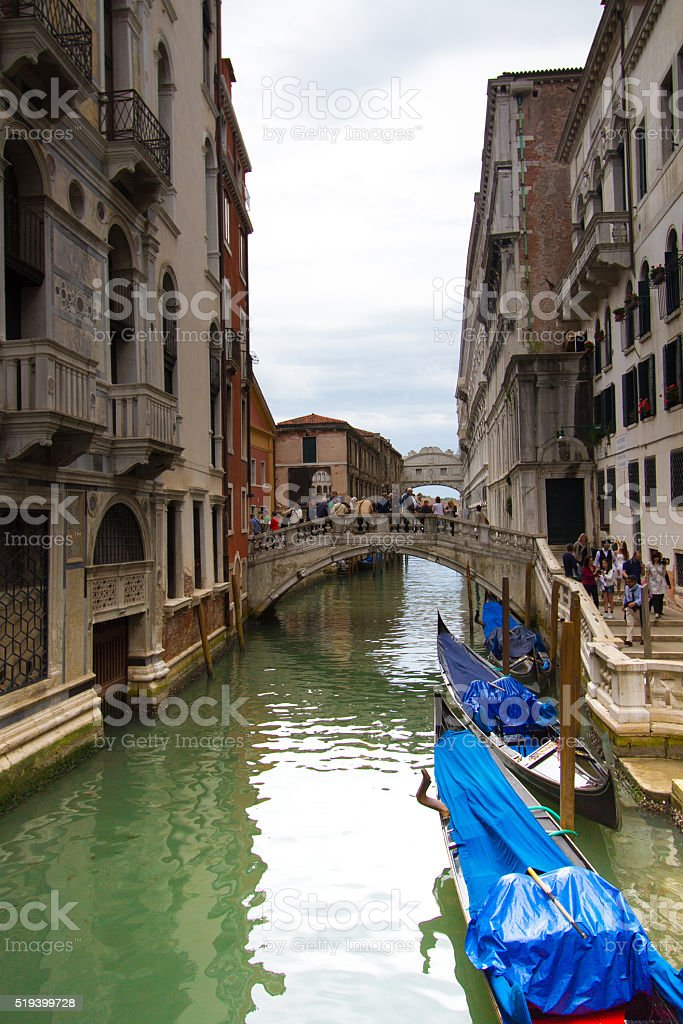 Venice, Italy: Canal with Gondolas; Bridge of Sighs in Distance stock photo