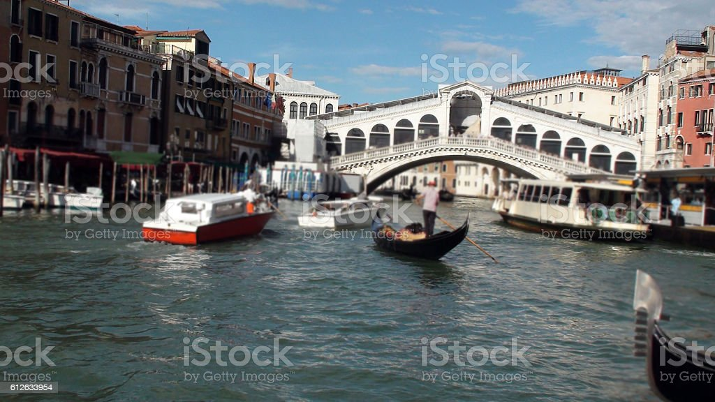 Venice Italy Europe,Boats,Rialto Bridge stock photo