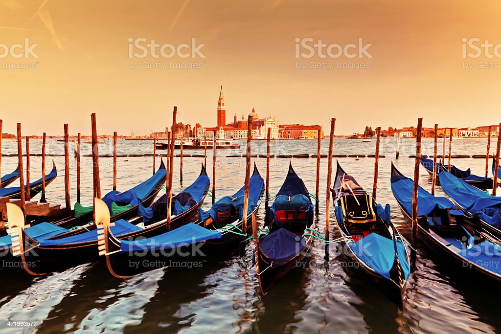 Venice, Italy. Gondolas on Grand Canal at sunset royalty-free stock photo