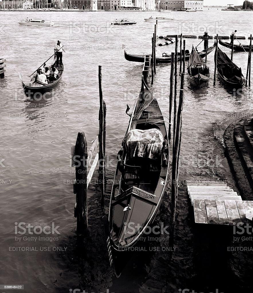 Venice Italy Gondolier Grand Canal Anchored Gondolas Black White stock photo