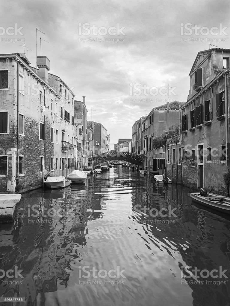 Venice, Italy, Grand Canal and historic tenements,black and whit stock photo