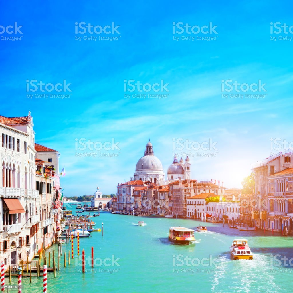 Venice, Italy. Grand Canal and the Salute stock photo