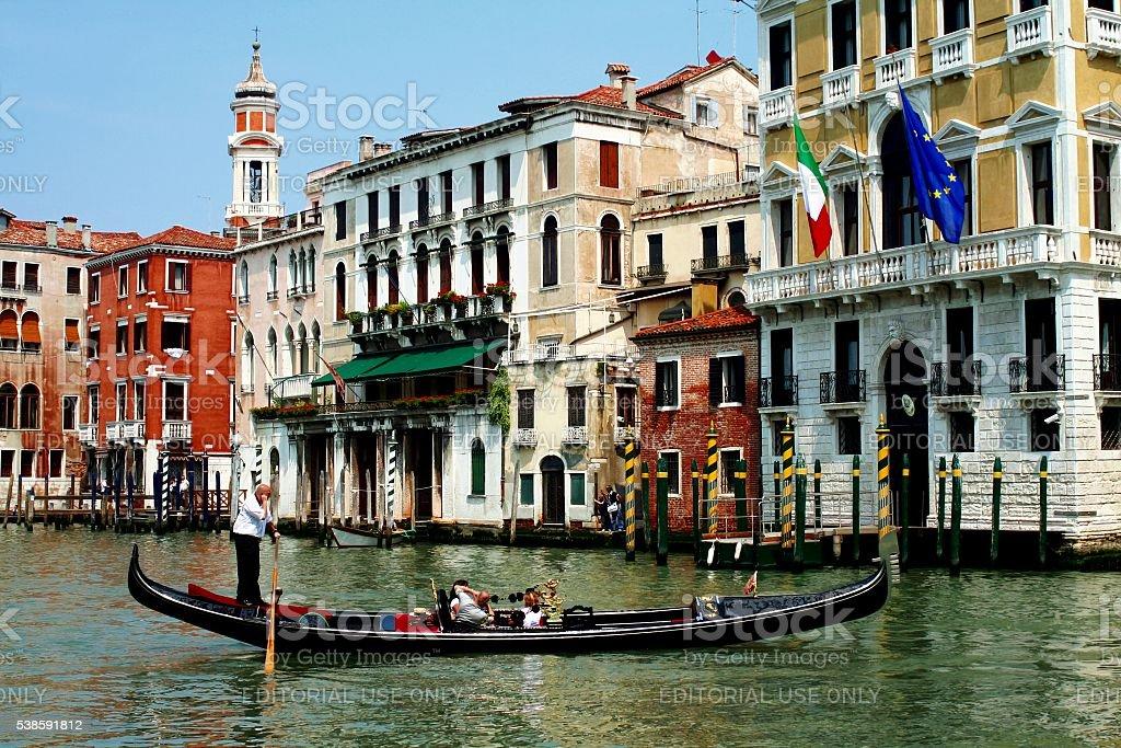 Venice Italy Grand Canal Gondola Gondolier Tourist stock photo