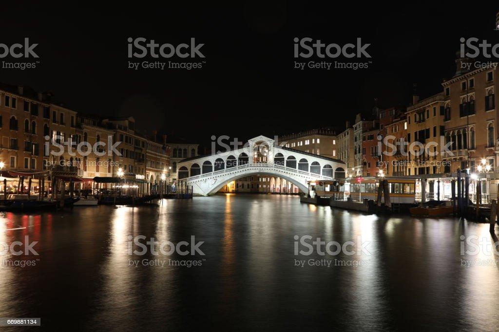 Venice Italy grand canal Rialto bridge night view stock photo