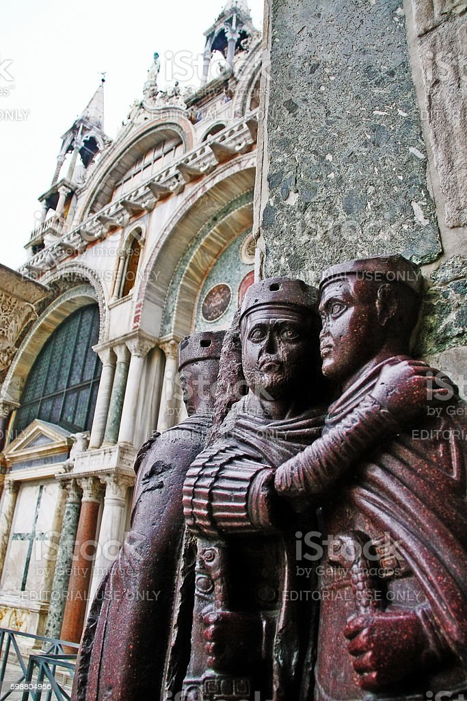 Venice, Italy - March 21, 2010 - Sculpture of four Tetrarchs stock photo