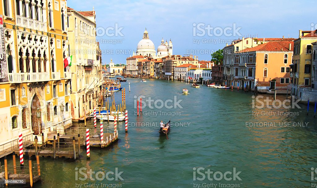 Venice, Italy: Panorama Grand Canal, Gondola, Santa Maria della Salute stock photo