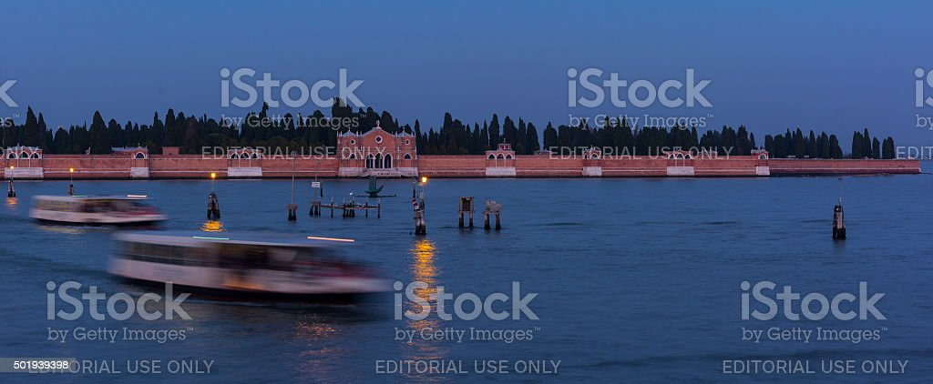 Venice, Italy. San Michele Island in the evening stock photo