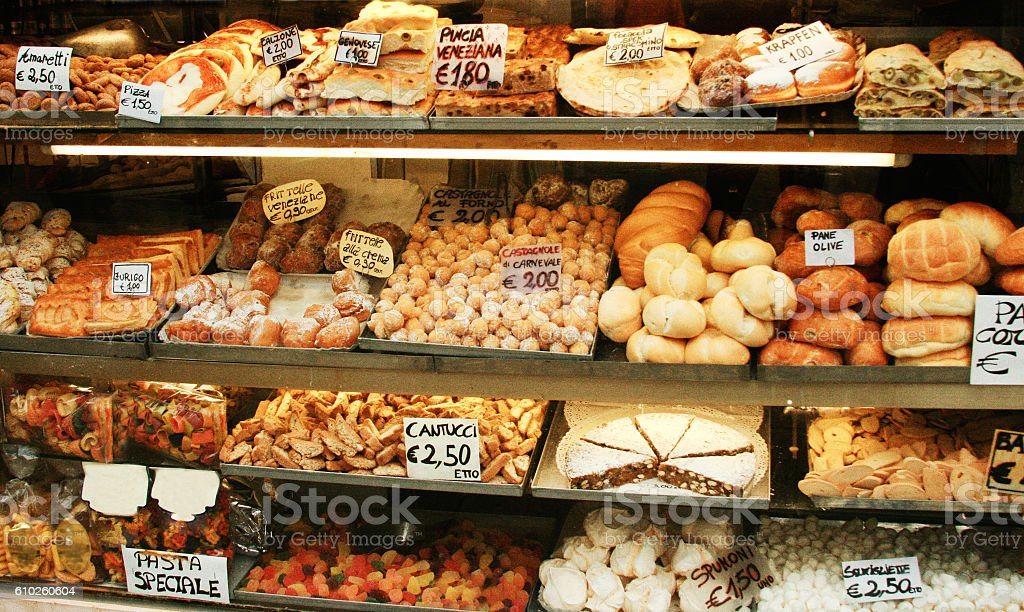 Venice, Italy: Tempting Bakery Shelves with Cookies and Bread stock photo