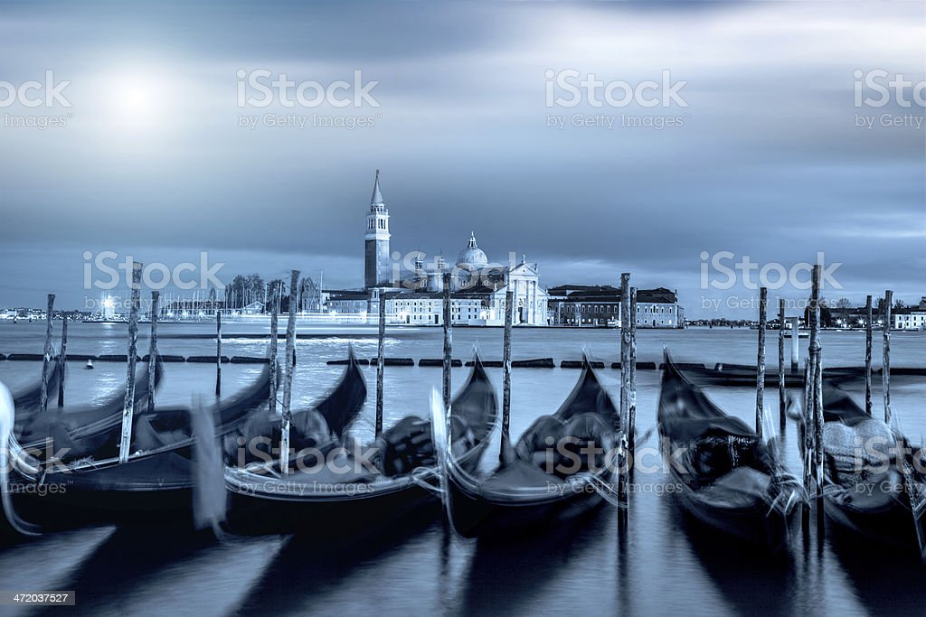 Venice lagoon under the moon royalty-free stock photo