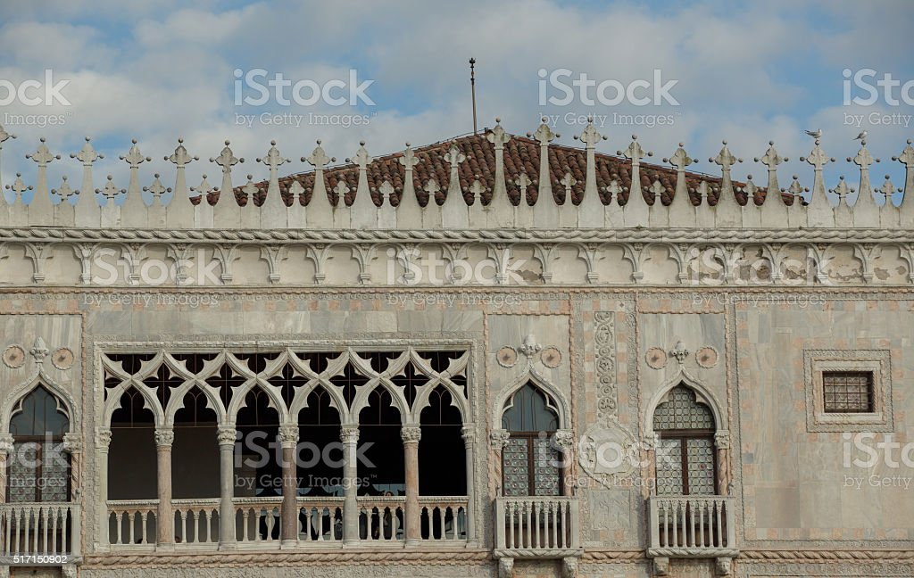 Venice landmark building Co D oro with typical architecture deta stock photo