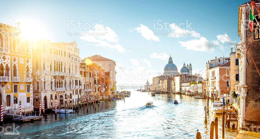 Venice landscape photo of Academia Bridge on Grand Canal stock photo