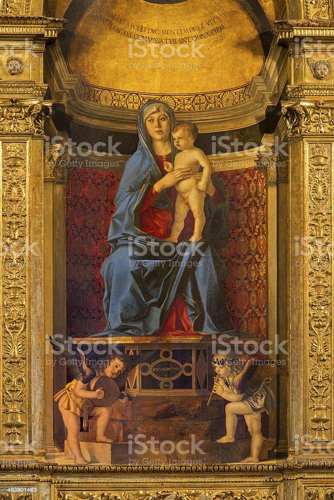 Venice - Madonna in Santa Maria dei Frari stock photo