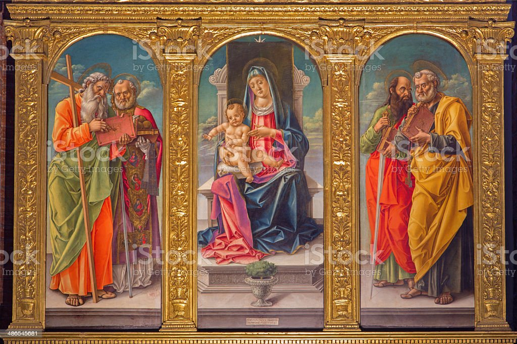 Venice - Madonna on the tron and saints by Vivarini stock photo