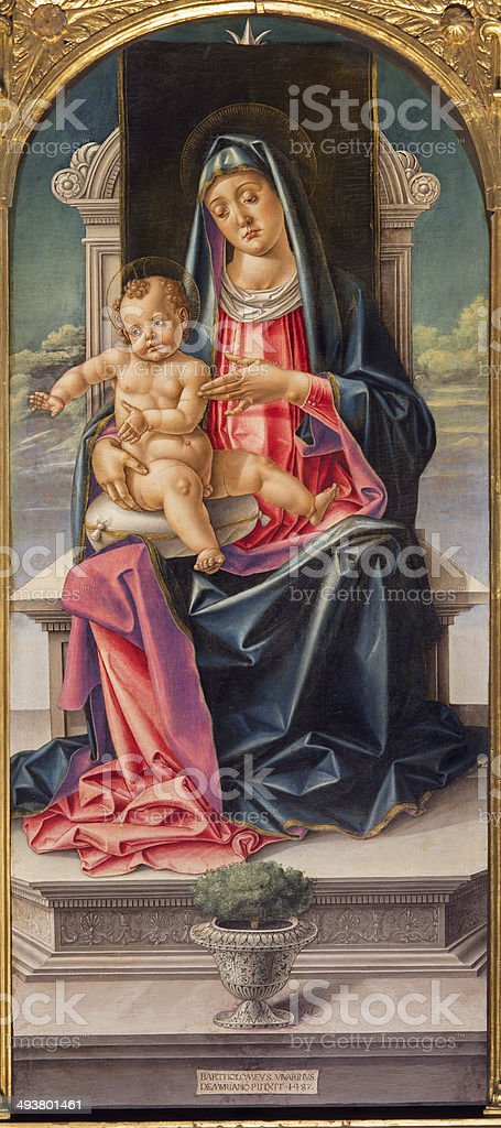 Venice - Madonna on the tron and saints stock photo