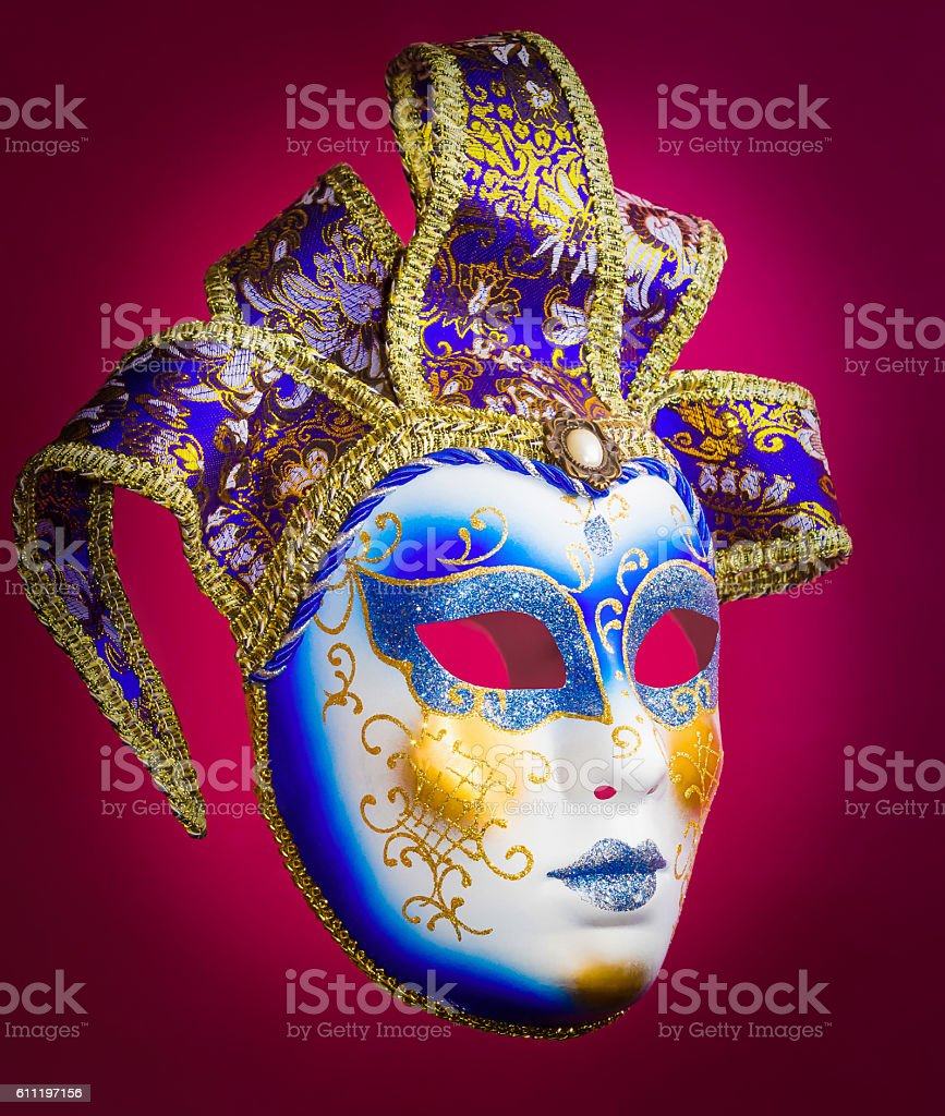 Venice mask on red background stock photo