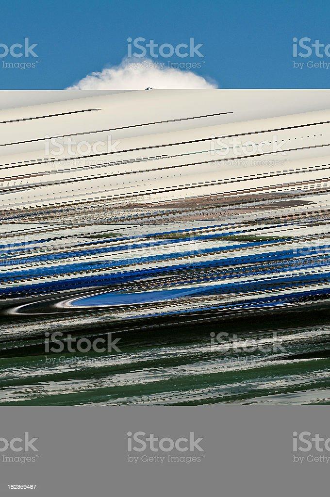 Venice moody misty morning moored gondolas campanile lagoon canal Italy royalty-free stock photo