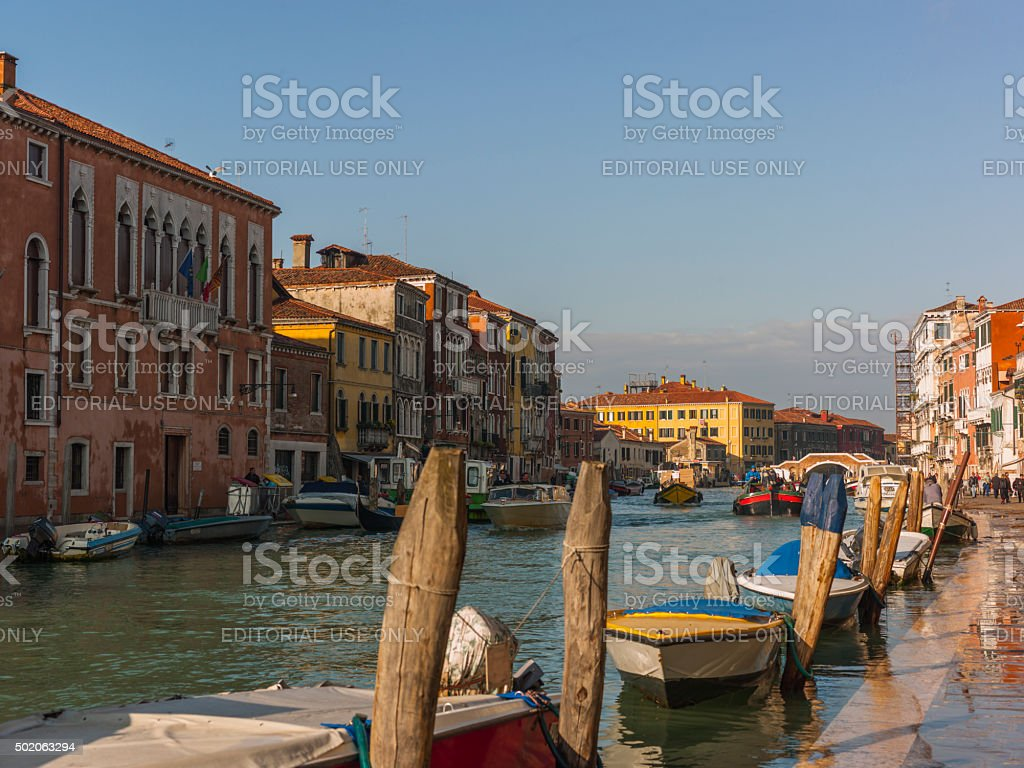 Venice. Morning on Cannaregio Canal with boats and 'acqua alta' stock photo