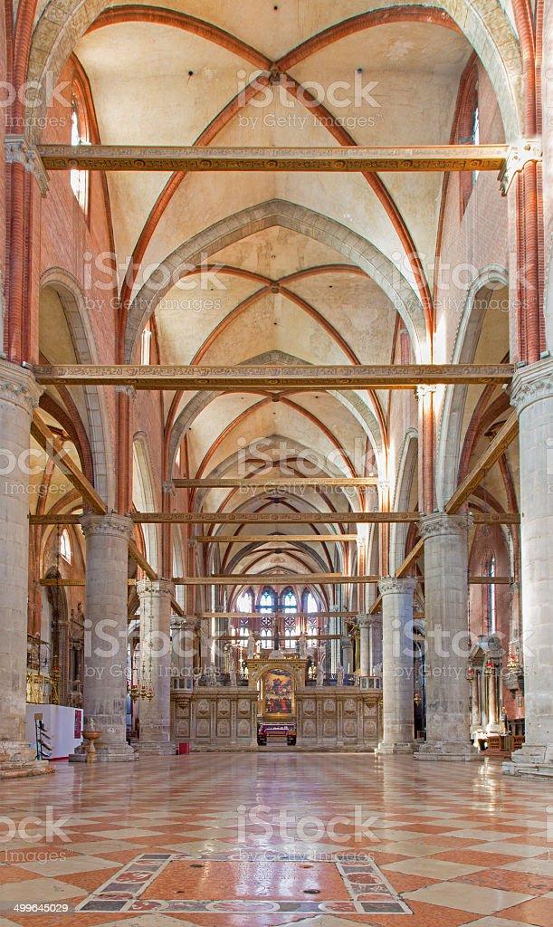 Venice - Nave of church Santa Maria Gloriosa dei Frari. stock photo
