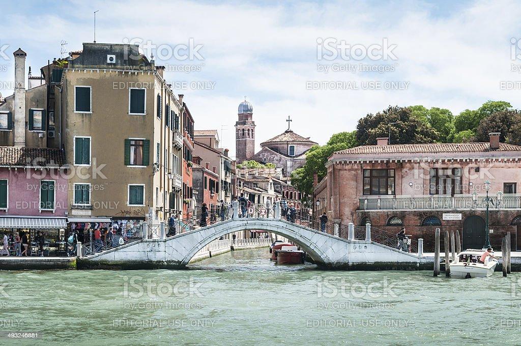 Venice of Fondamenta Santa Croce quartier in Venice, Italy stock photo