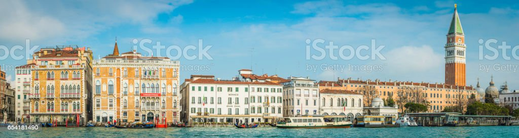 Venice panoramic view across Grand Canal Campanile St Marks Square stock photo