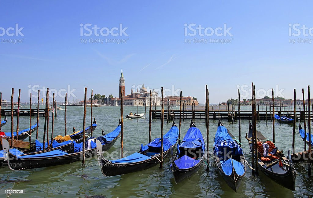 Venice - Parked gondolas royalty-free stock photo