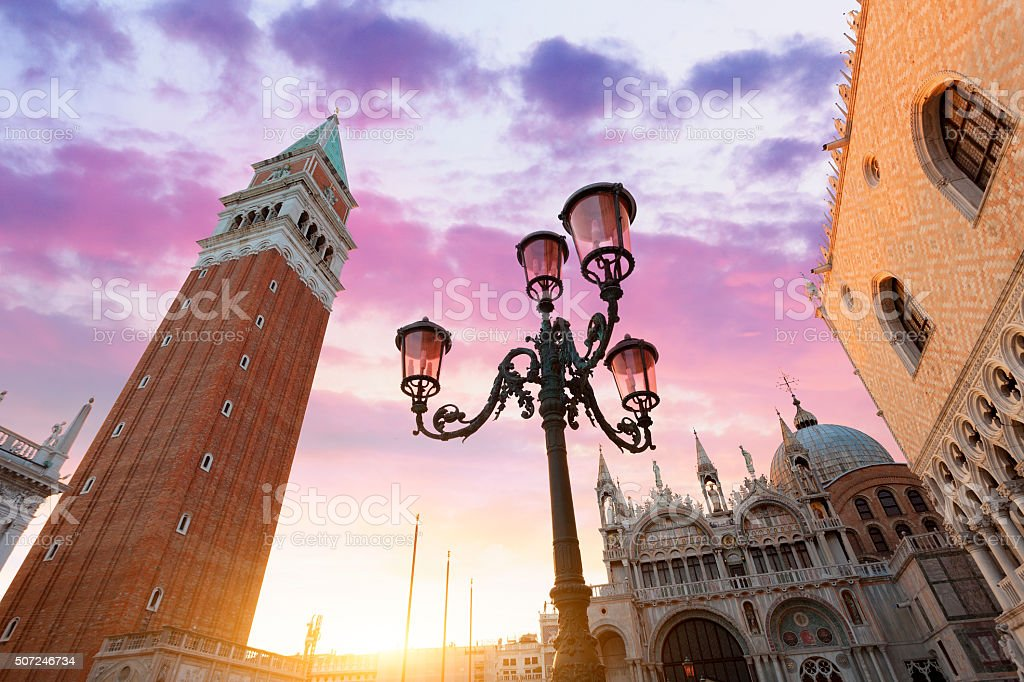 Venice, Piazza San marco and Campanile at sunset stock photo