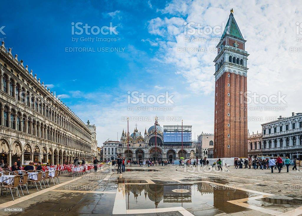 Venice Piazza San Marco St Mark's Basilica Campanile tourists Italy stock photo