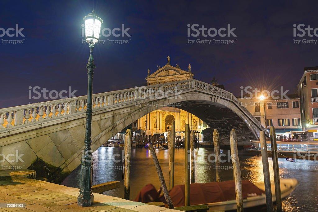 Venice Ponte degli Scalzi Ferrovia bridge over Grand Canal illuminated stock photo