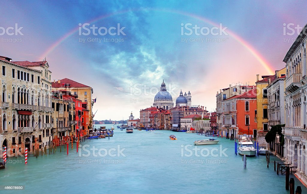 Venice - Rainbow over Grand Canal stock photo