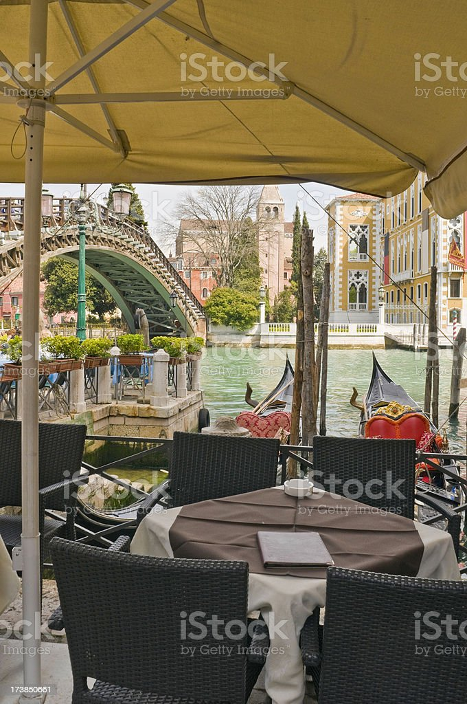 Venice restaurant gondolas canals royalty-free stock photo