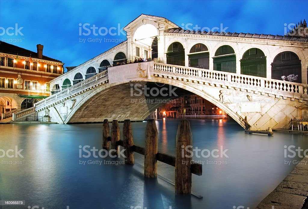 Venice - Rialto bridge at dusk, Italy royalty-free stock photo