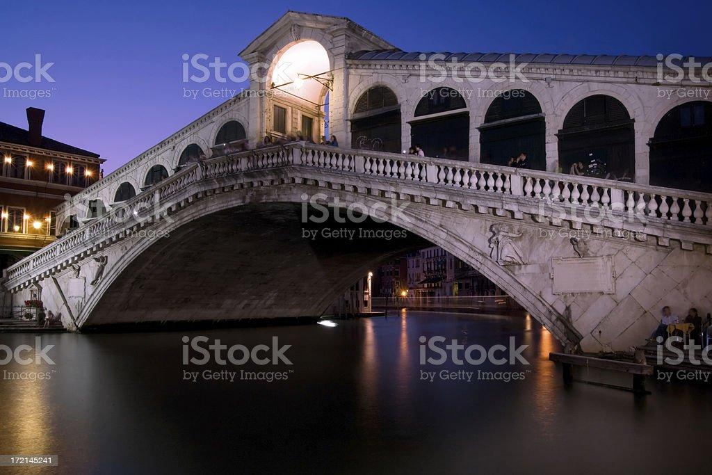 Venice Rialto Bridge at Dusk stock photo