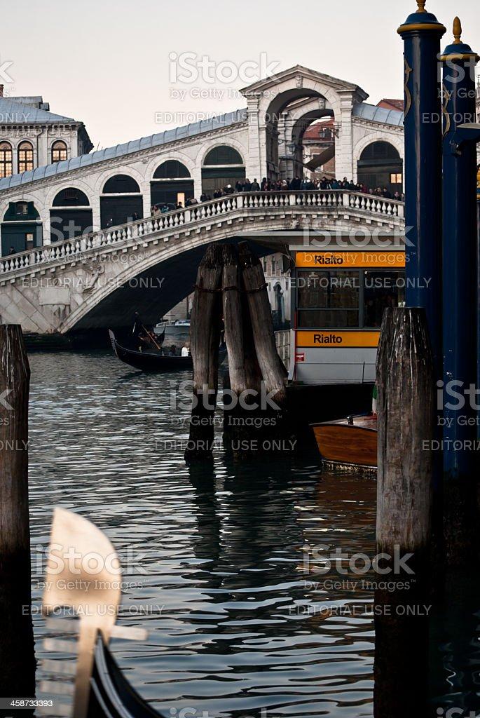 Venice - Rialto bridge & Gondola stock photo
