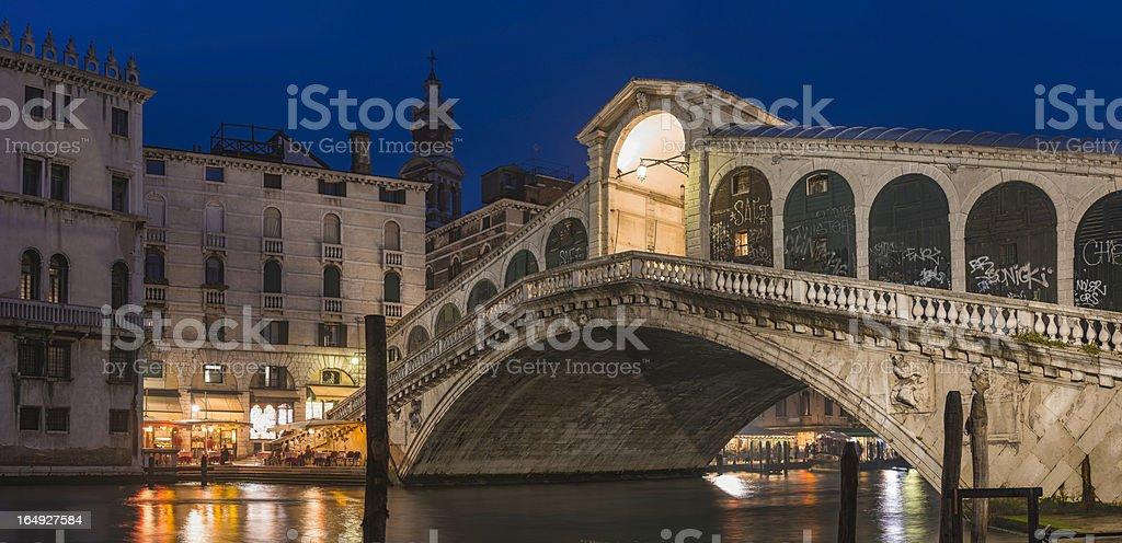 Venice Rialto Bridge Grand Canal illuminated at night Italy royalty-free stock photo