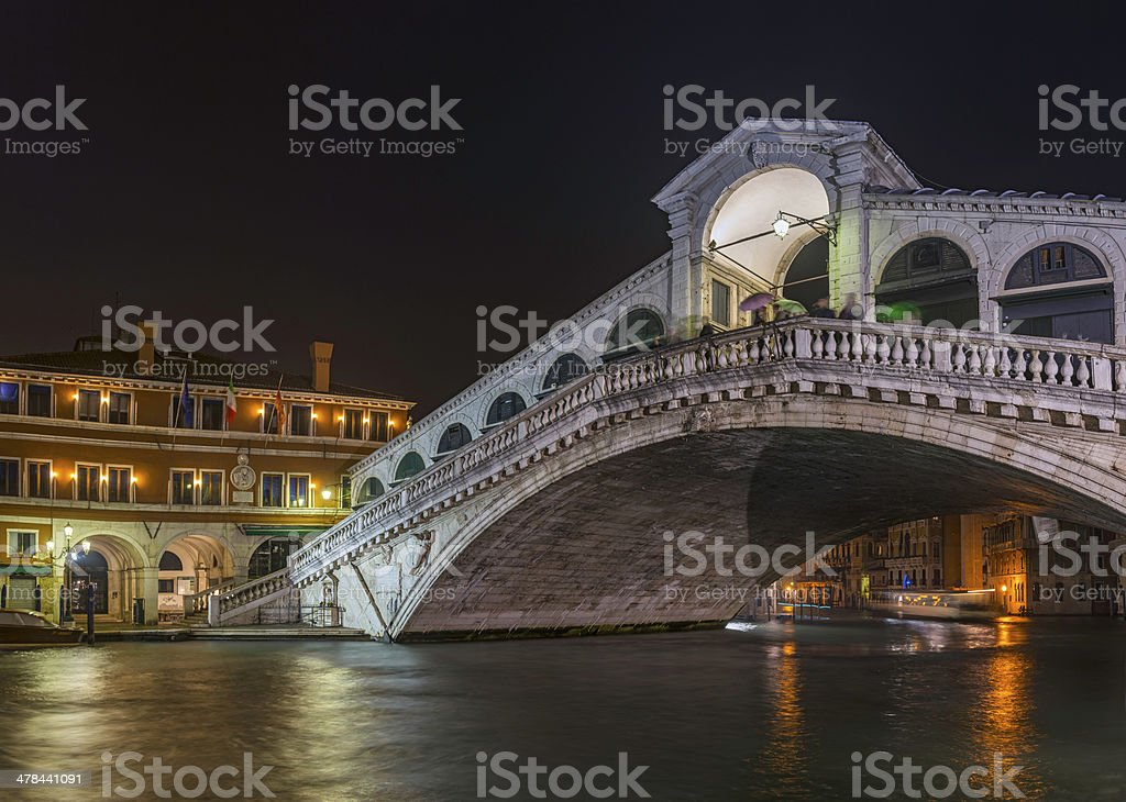 Venice Rialto Bridge iconic arch over Grand Canal night Italy royalty-free stock photo