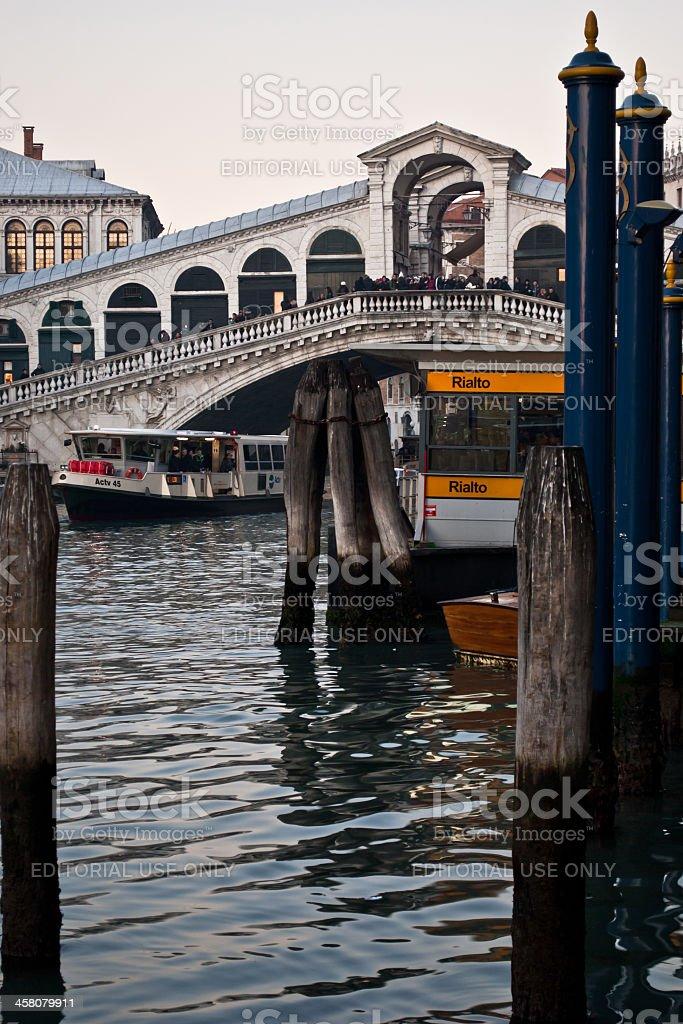 Venice - Rialto bridge & Vaporetto stock photo