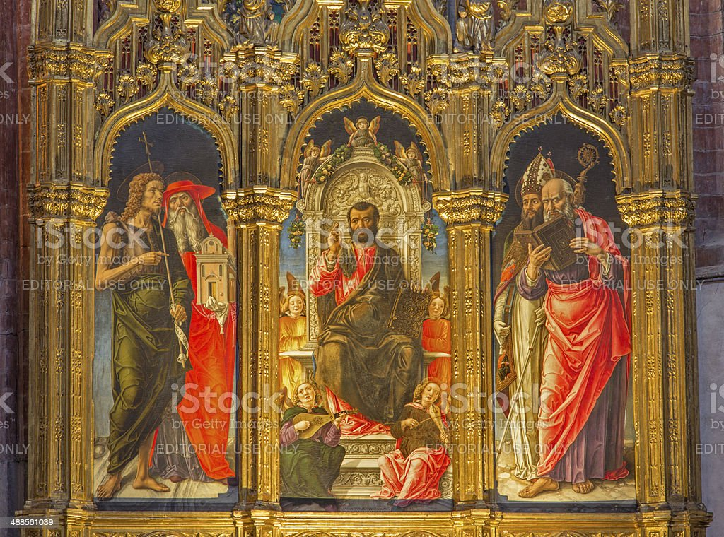 Venice - Saint Mark the tron and saints stock photo