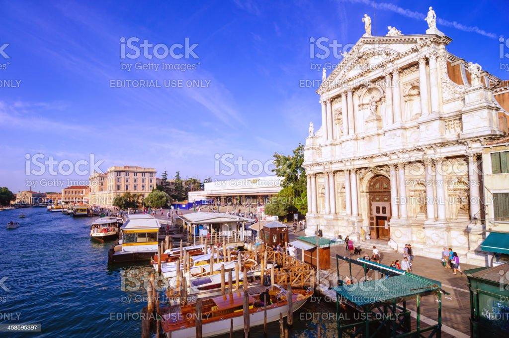 Venice Santa Lucia train station and Vaporetto stock photo