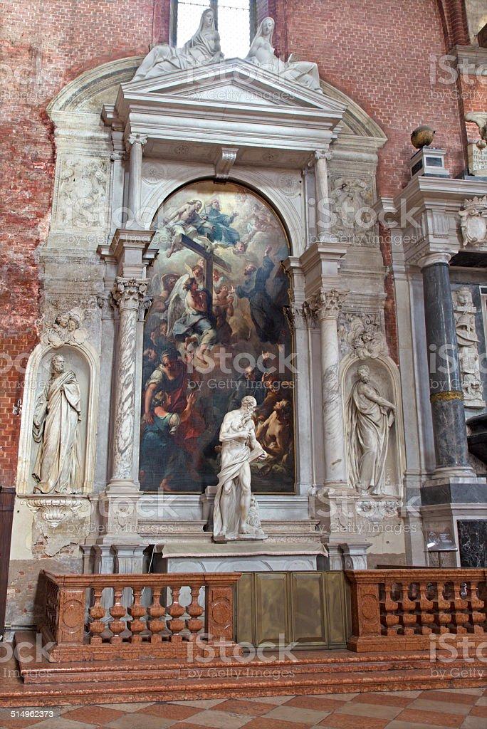 Venice -  Side altar of church Santa Maria dei Frari stock photo
