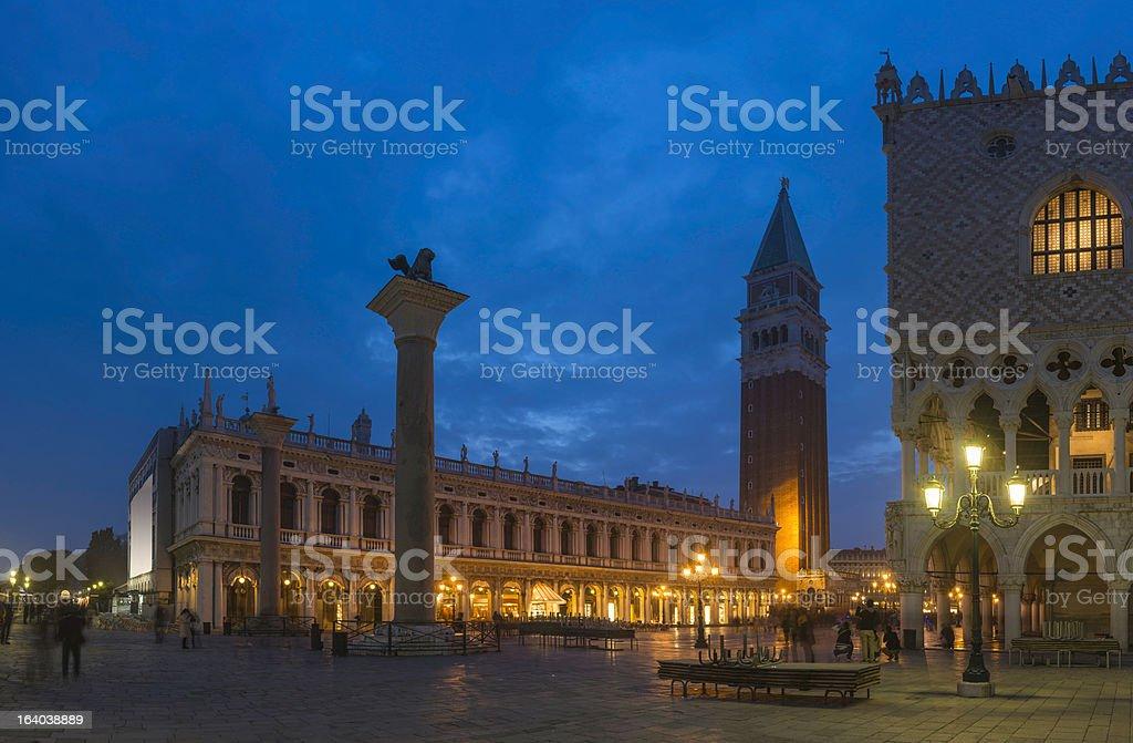 Venice St Mark's Square Campanile Doge's Palace illuminated at dusk royalty-free stock photo