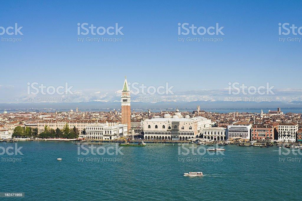 Venice St Marks Square Campanile Doges Palace Lagoon landmarks Italy royalty-free stock photo