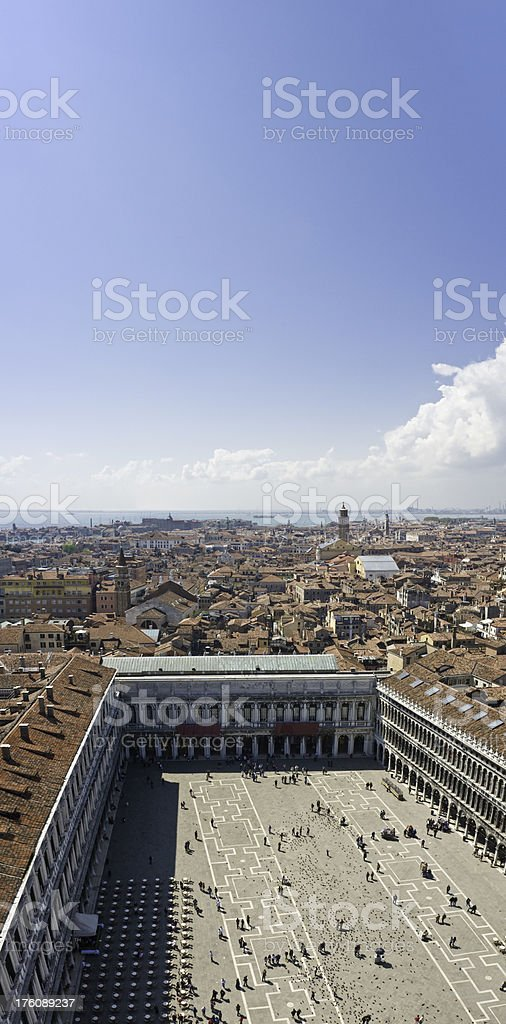 Venice St Marks Square rooftops and tourists aerial blue sky royalty-free stock photo