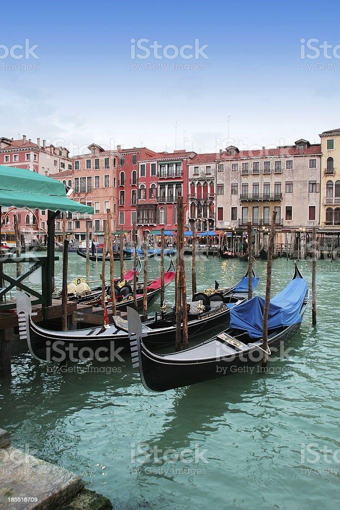 Venice: Traditional gondolas in Canal Grande, near Rialto. royalty-free stock photo