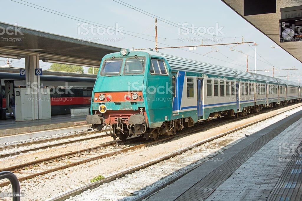 Venice train in the station, Stazione di Venezia Santa Lucia stock photo