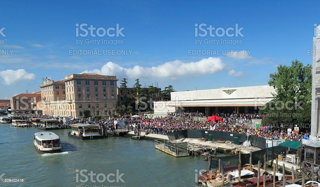 Venice train station, Stazione di Venezia Santa Lucia-  entrance crowd stock photo