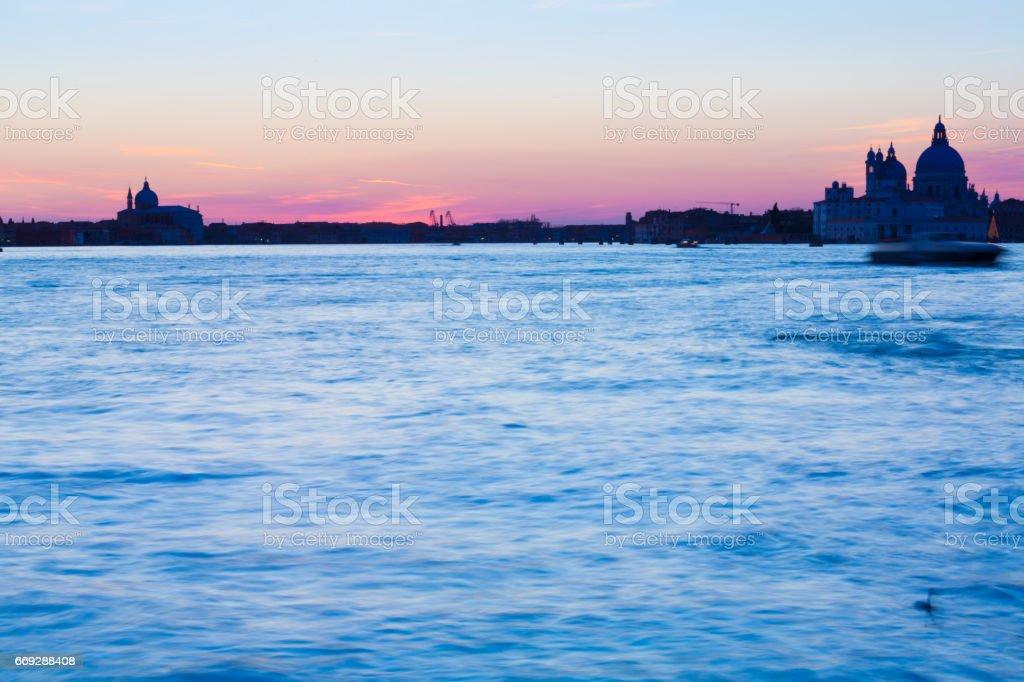 Venice Twilight over Lagoon stock photo